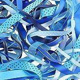 Luxbon-Ruban en Satin Organza Gros-Grain Imprimé Paillettes Blanches pour Artisanat DIY Cadeau Lot de 10pcs 2 Mètres (environ) Bleu 20 Mètres(10X2m)