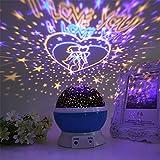 FONKIC Baby Nachtlicht Mond Sterne Projektor Schreibtischlampe USB Rechargable Kreatives Geschenk,Lovers