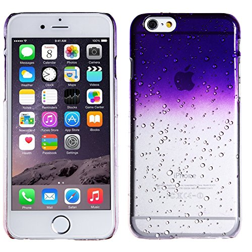 wortek Plastik Hardcase Raindrop Regentropfen Apple iPhone 6 4,7 Zoll Blau Transparent iPhone 6 - Lila