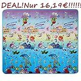 Qulista 2-in-1 Eco Baby Spielteppich Krabbelmatte 2x1.8m Picknickdecke, Ozean, Tiere, Bauerhof, Alphabeten, Indoor/Outdoor Spielmatte Kinder (Tiere mit Automobil und Meer)