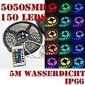 5M 150 LED 5050 SMD Streif Band Strip Lichterschlauch RGB m. Fernbedienung IP66 Stark wasserdicht Trafo+12V/3A Netzteil