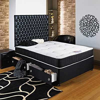 Hf4you Black Chester Divan Bed - 5ft Kingsize - No Storage - No Headboard - inexpensive UK light store.