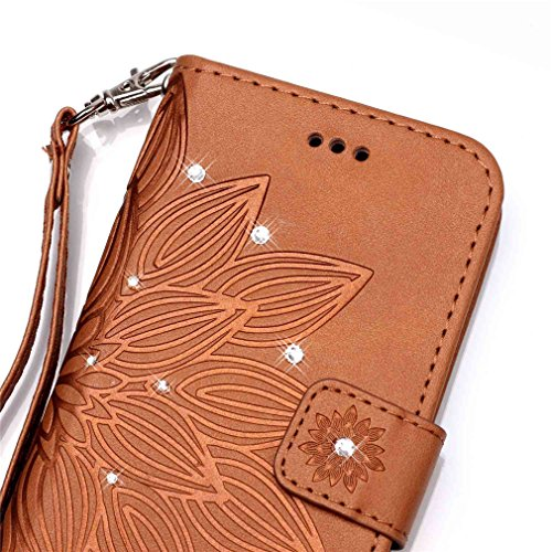 Mk Shop Limited Coque Iphone 7G/7 étui ,PU Cuir Diamant Housse Fleur Gaufrage Motif Motif Coque Flip Wallet en Cuir Case rabat pour Iphone 7G/7 Coque de protection Portefeuille TPU Case Multi-couleur 37