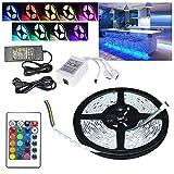 VGO® 3M LED Strip RGB LED Streifen Wasserdicht Lichtband dimmable Außenbereich led strip Fernbedienung Wohnzimmer Schlafzimmer (60 LEDs/m)