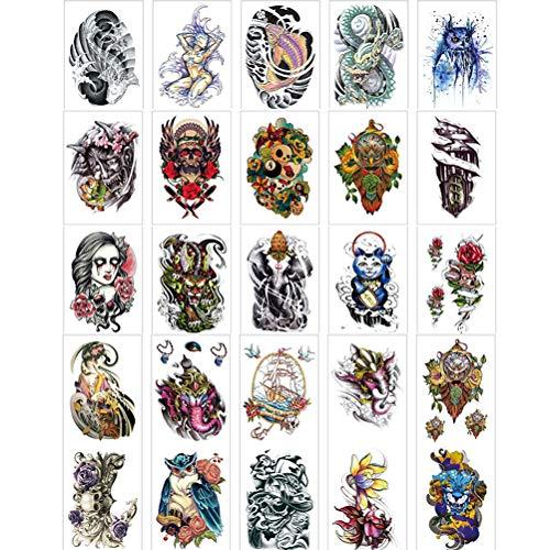 Elfen Frauen Freche Kostüm - 50 Arten Muster temporäre Tätowierung Aufkleber für Frauen Männer Fake Tatoo Body Art Erwachsene wasserdichte Aufkleber Schmetterlinge, Elfen, Schlangen, Falken, Hirsche, Eulen-5