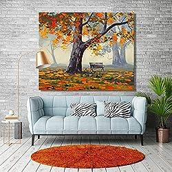 YuanMinglu Modernes abstraktes Landschaftsplakat und Druckwandkunstanstrich auf Segeltuchherbstlandschaftsbaumbildwohnzimmerausgangsdekoration-rahmenloser Anstrich 60x75cm