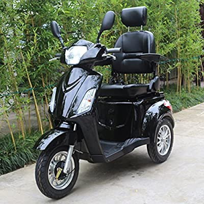Electric Mobility Scooter, 3 Wheeled with Extra Accessories Package: Mobility Scooter Waterproof Cover, Phone Holder, Bottle Holder by GreenPower (Black)