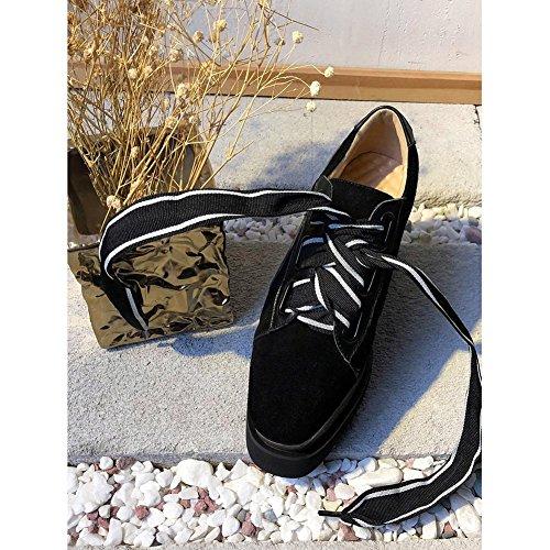 Suola Spessa Piattaforma Donna WSXY-A2302 Tomaia Creativa Stivali Basse Ecopelle Stivaletti,KJJDE black