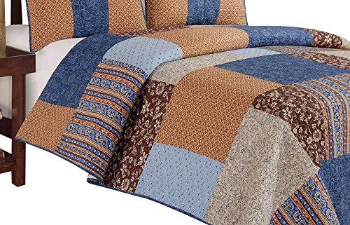 C & F Unternehmen Bridget Steppdecke, King, blau/braun -