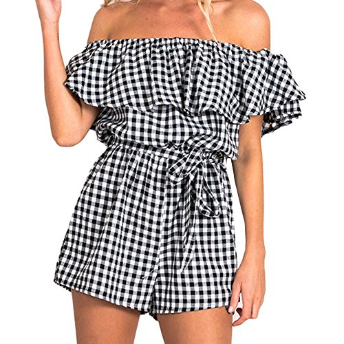 WOCACHI Damen Sommer Jumpsuits Frauen Art und Weise weg vom Schulter Streifen Muster Bowknot Bodysuit Overall Playsuit Blau (XL/38, (Iron Man Kostüme Bodysuit)