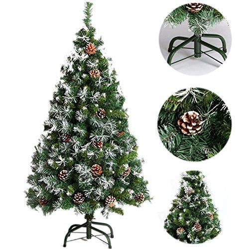 Weihnachtsbaum 120/150/180/210cm SANVA Tannenbaum weiß grün mit schnee Tannenzapfen 20/33/48/56er PVC hochwertiger künstlicher mit Metallständer Minutenschneller Aufbau mit Klappsystem Christbaum 250- (mit schnee&Tannenzapfen, 150cm)
