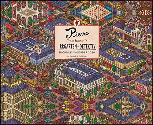 Pierre der Irrgarten-Detektiv 2020 – 12 Wimmel-Such-Bilder – DUMONT Kinder-Kalender – Querformat 52 x 42,5 cm – Spiralbindung
