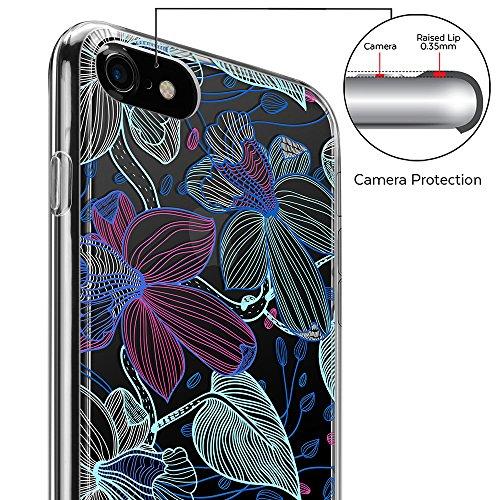 iPhone 7 Hülle (4,7 Zoll), GMYLE Muster Series Weiche TPU Rahmen + Hart PC Rückdeckel Hülle Muster Schutzhülle für iPhone 7 (Valentine Muster III) Skizzenhaften Stil Blume