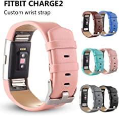 Voberry Sports Genuine Leather Watch Band Strap for Fitbit Charge 2 Wrist Band Bracelet