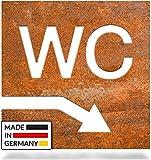 INOXSIGN Vintage WC-Schild Pfeil – Keller rechts W.04.R – Selbstklebendes Retro Toiletten-Schild – klar erkennbar und werkzeuglose Montage – Unisex Kloschild – Shabby chic – Made in Germany