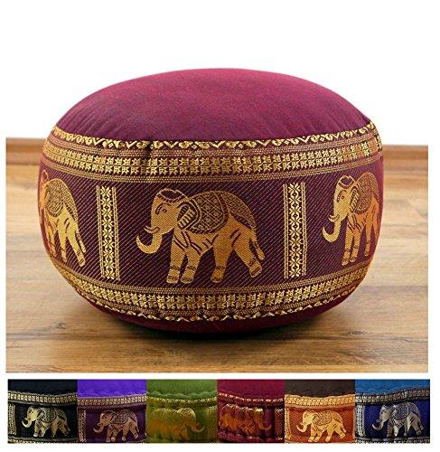 Zafukissen mit Seidenstickerei, Yogakissen, Meditationskissen, Sitzkissen, Bodenkissen (rot/Elefanten)