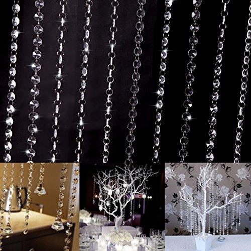 10x 1Meter cortina de cuentas de cristal acrílico Partido Boda gu