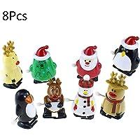 Caingmo 8pc Santa Claus Clockwork Robot Toy, Christmas Clockwork Gift Wind Up Santa Claus Bounce Toy Educational Toys Santa Claus Elk Penguin Snowman Clockwork Toy Upper Chain