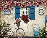 Mbwlkj 3D Tapete Mittelmeer Fenster Rose Rose Lifebuoy Bike Fototapete-150cmx100cm