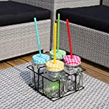 Set of Four Embossed Jam Jar Drinking Glasses with Straws and Carry Case