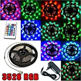 Ensemble complet de RUBAN LUMINEUX 300 LED MULTICOLOR RVB 5 mètres 300 LED S LEDs Eclairage Etanche Flexible Waterproof + IR télécommande 24 Touches