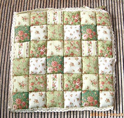 Cojín suave con lazos para atar a silla, ideal para muebles de cocina, jardín, comedor, de 40 x 40 cm, algodón, Verde, 40 x 40 cm