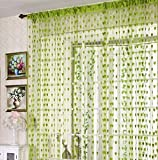 #9: Homefab India Beautiful String Heart Tabtop Polyester Door Curtain - 7ft, Green