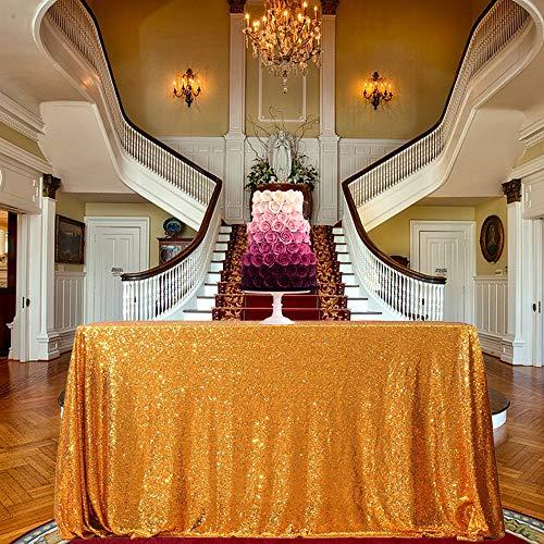 Tovaglie per tovaglie con paillettes per decorazioni da tavola per torta di compleanno per matrimoni, oro, rettangolo 50 pollici x 72 pollici