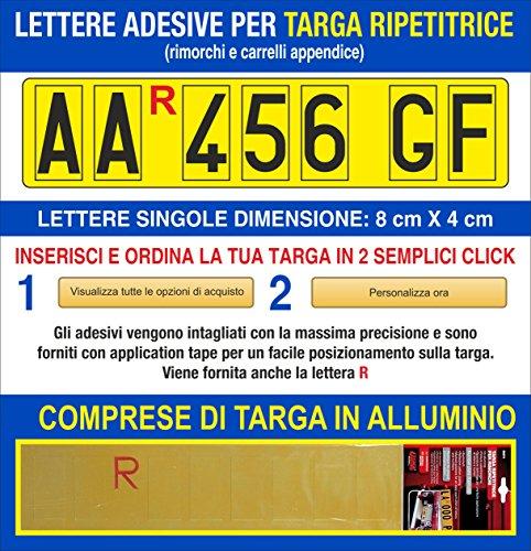 Grafilandia Targa ripetitrice per rimorchi e carrelli appendice, corredata di Lettere e Numeri Adesivi Personalizzat