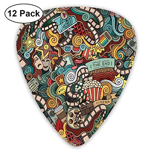 Guitar Picks - Abstract Art Colorful Designs,Cinema Items Combined In An Abstract Style Popcorn Movie Reel The End Theatre Masks,Unique Guitar Gift,For Bass Electric & Acoustic Guitars-12 Pack