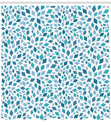 ABAKUHAUS Teal Duschvorhang, Abstrakte Mosaik-Blau-Töne, mit 12 Ringe Set Wasserdicht Stielvoll Modern Farbfest und Schimmel Resistent, 175x180 cm, Blaugrau Türkis Weiß