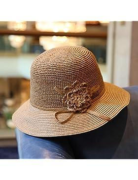 SituMi Señoras Verano sombrero para el sol Sombrero de Paja plegable disquete ala ancha playa,ligero café