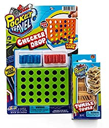 Pocket Travel Kit by 2GoodShop | 1 Checker Drop and 1 Mini toy Tower Bundle | C4