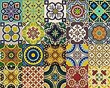 Backsplash Pegatinas para azulejos, 24 unidades, auténticos azulejos de Talavera tradicionales, para baño y cocina, fáciles de aplicar, solo retirar el papel y pegar, decoración del hogar, 10 x 10 cm