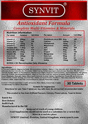 Antioxidant Formula - Complete Multi-Vitamins & Minerals x 30 Synvit Foil Pack from Manufactured in the UK for Synvit Limited