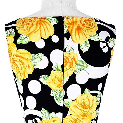 Belle Poque 50s Vintage Rockabilly Kleid Blumenkleid Partykleider Cocktailkleider GD000002 BP002-11