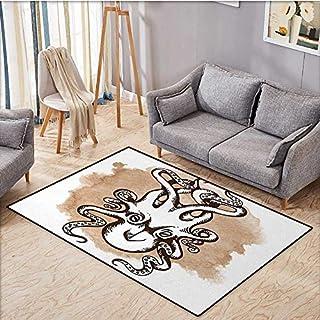 Kraken Fußmatten für Zuhause, antikes lustiges Kraken-Monster im digitalen Aquarell-Stil, Vintage-Grafikbild, antistatisch, wasserfest, 40,6 x 61 cm, Hellbraun