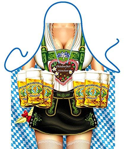 bedruckte Fun Grill Schürze - Motiv: Oktoberfest Frau - Spaß Grillschürze Kochschürze Weihnachten Tracht Nikolaus (Oktoberfest Ideen)