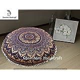 Ganesham Handicrafts- Round Mandala Pillow Throw Living Room Decor Boho Decor, Hippie Round Seating Pouf Ottoman, Mandala Floor Pillows With Pom Pom Border Meditation Cushion Cover ( Christmas Gift)