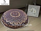 Mandala Kissen Überwurf Wohnzimmer Hippie Rund Sitzgelegenheit Pouf osmanischen, Mandala Boden Kissen mit Meditation Kissenbezug
