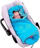 ByBoom® - Einschlagdecke für die Übergangszeit und Sommer mit Muster, für Babyschale, Autokindersitz, z.B. für Maxi-Cosi, Römer, für Kinderwagen, Babytrage, z.B. Manduca Farbe:Aqua