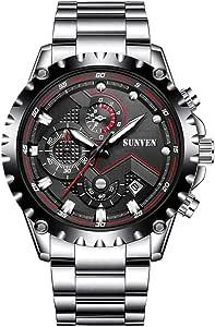 Orologi al quarzo da uomo Sunven Sport Cinturino e cassa in acciaio inossidabile impermeabile 30M con funzione di cronometro