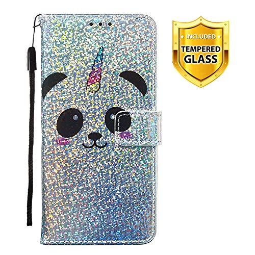 Boloker Kompatibel mit iPhone XS Max (6.5 Zoll) Hülle + Panzerglas Schutzfolie, Glitzer Flip Wallet Case mit Kartenhalter und Magnetverschluss Premium PU Leder Hülle Handyhülle (Panda)