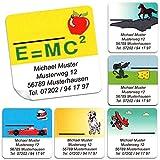 Kinder-Schul-Etiketten mit Ihrem Wunschtext, 48 Stück, ca. 40 x 40 mm, für bis...