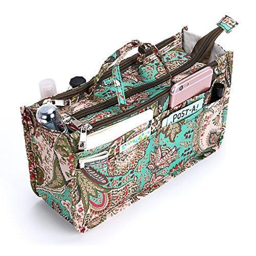 IGNPION Bedruckter Einsatz Handtasche Geldbörse Organizer 13 Taschen erweiterbar Liner Bag Pouch Reißverschluss Tote Organizer Wickeltasche Einsatz mit Griff (29x16x9cm)(Pfau-Blume)