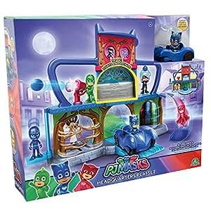 Giochi Preziosi - Super Pigiamini PJ Masks Playset Quartier Generale, incluso Gattoboy e Gattomobile