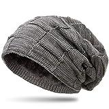CASPAR MU135 gefütterte Feinstrick Beanie Mütze mit Flecht Muster, Farbe:grau-Hellgrau;Größe:One Size