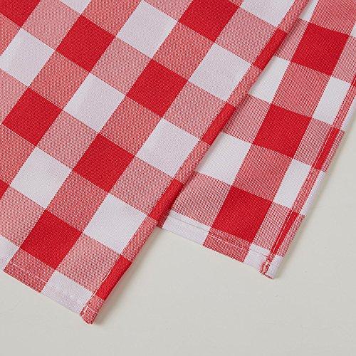 gfcc schwarz & weiß Gingham Karierte Tischdecke aus Polyester, rechteckig, Picknick Tischdecke, 90x 132-inch (225x 330cm), Polyester, rot / weiß, 90x132-inch tablecloth (Checker Schwarz Tischdecke)