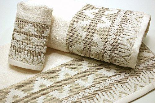 Montse Interiors Jacquard Handtuch-Set, 100% Baumwolle, 550 g, 3 Stück Sydney -
