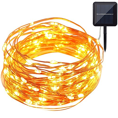 GDEALER Solar Lichterkette 10 Meter 100 LEDs Kupferdraht Wasserdicht IP65 Solarlichterkette für Weihnachten, Garten, Schlafzimmer, Hochzeit, Outdoor - Warmweiß